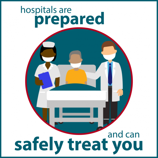 Hospitals are prepared and can safely treat you.
