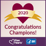 Million Hearts 2020 Hypertension Control Champion. Congratulations Champion!
