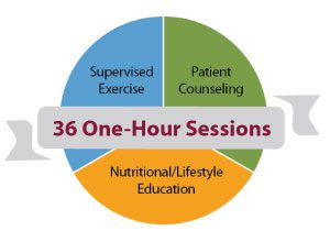 36 one-hour sessions: Supervised exercise; Patient counseling; Nutritional and lifestyle education.