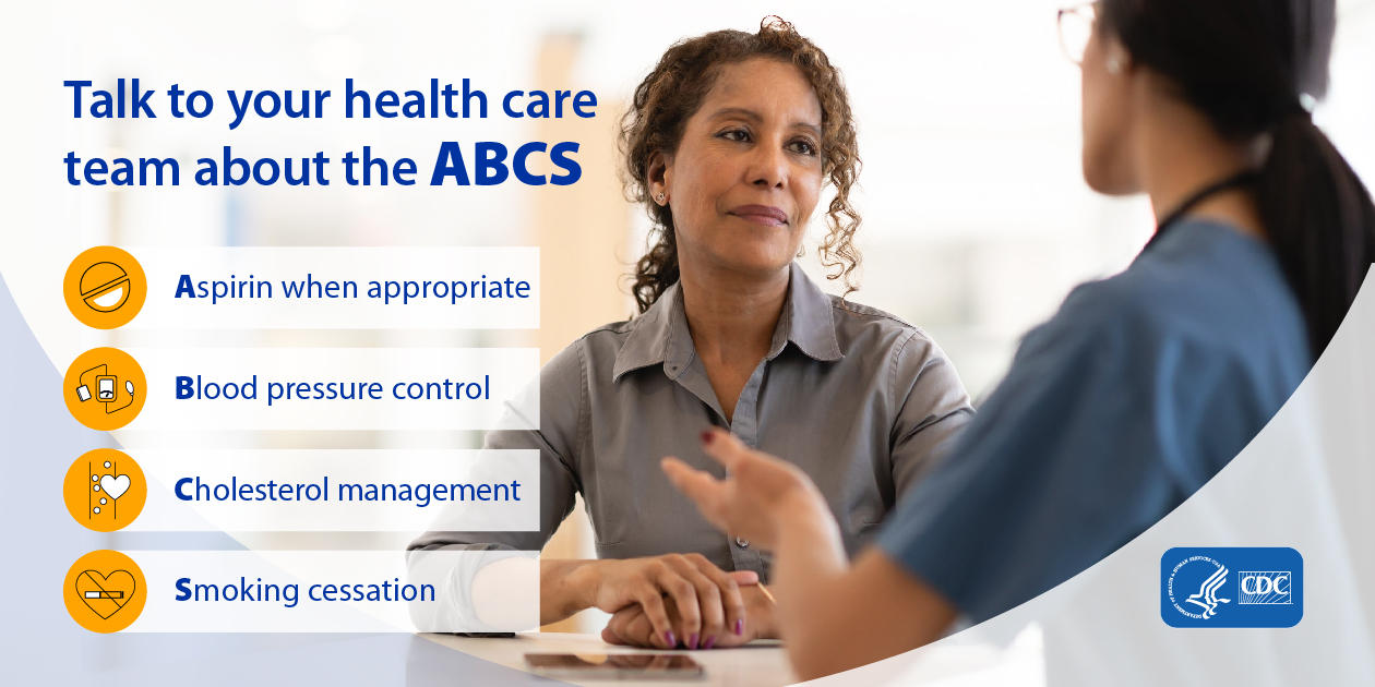 Talk to your healthcare team about the ABCS. Aspirin when appropriate; Blood pressure control; Cholesterol management; Smoking cessation.