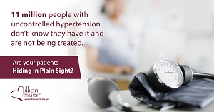 A blood pressure cuff. Image text: 15 million people with uncontrolled hypertension don't know they have it and are not being treated. Are your patients hiding in plain sight?