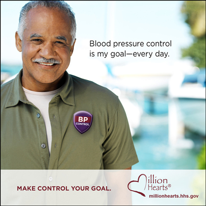 Picture of a smiling man with the caption Blood Pressure Control is My Goal. Make Control Your Goal. millionhearts.hhs.gov/abouthds/blood_pressure.html