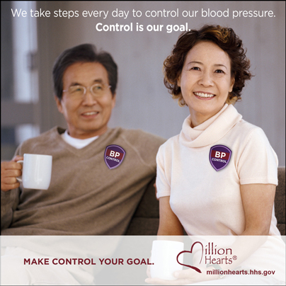 Picture of a smiling couple with the caption We Take Steps Every Day to Control our Blood Pressure. Control is Our Goal. millionhearts.hhs.gov/abouthds/blood_pressure.html