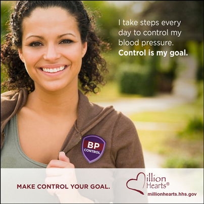 Picture of a woman exercising with the caption I Take Steps Every Day to Control My Blood Pressure. Control is My Goal. millionhearts.hhs.gov/abouthds/blood_pressure.html