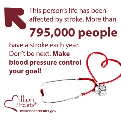 This person's life has been affected by stroke. More than 795,000 people have a stroke each year. Don't be next. Make blood pressure control your goal! millionhearts.hhs.gov/abouthds/blood_pressure.html