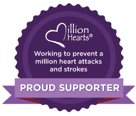 Working to prevent a million heart attacks and strokes. Million Hearts Proud Supporter Ribbon